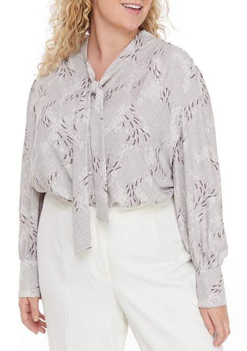 Plus Size Tie Neck Bishop Sleeve Print Top