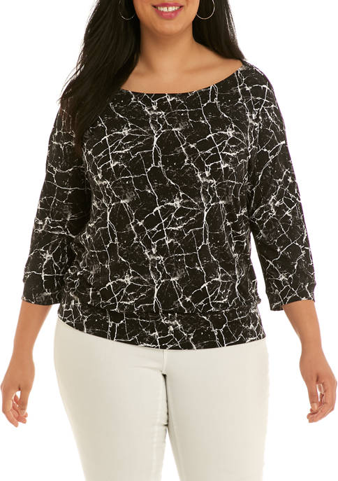 Plus Size Scoop Back Banded Top