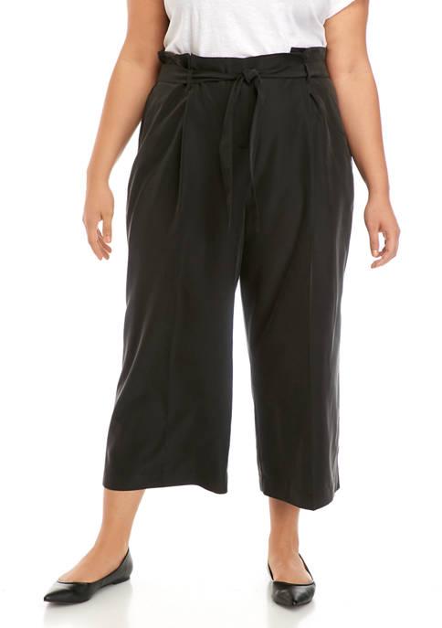 Plus Size Paper Bag Trousers