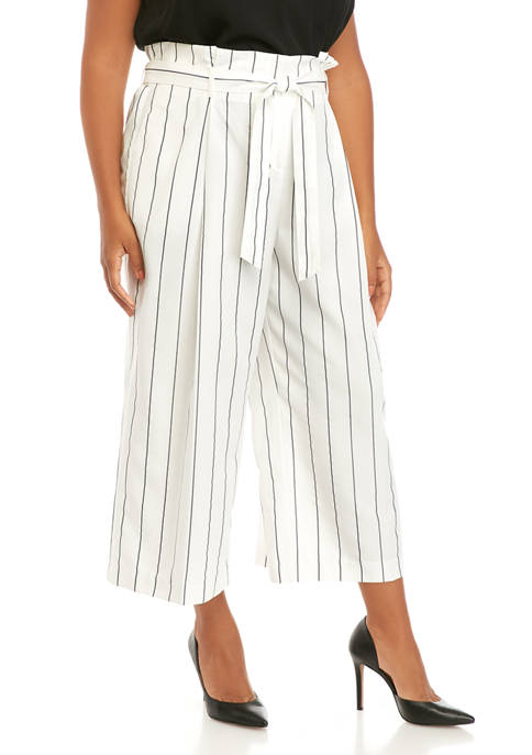 Plus Size Yarn Dyed Paper Bag Trousers