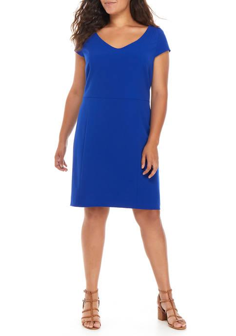 Plus Size Cap Sleeve V-Neck Dress