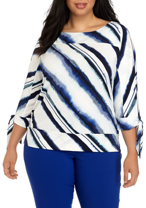 Plus Size Dolman Tie Sleeve Top