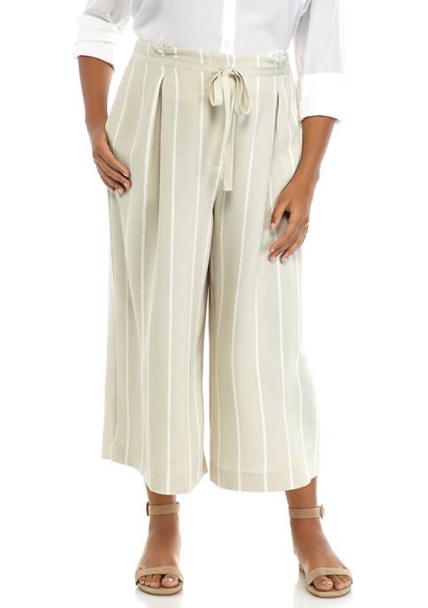 Plus Size Pleat Waist Printed Culotte Pants