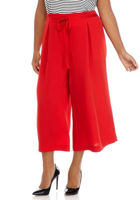 Plus Size Pleat Waist Culotte Pants