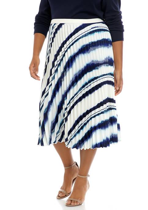 Plus Size Printed Pleat Skirt