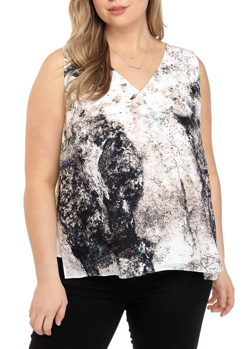 Plus Size Printed Side Slit Tank