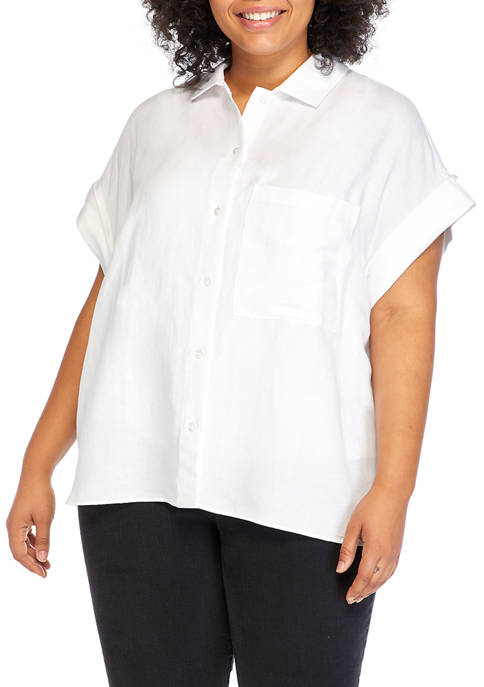 Plus Size Short Sleeve Dolman Sleeve Pocket Top
