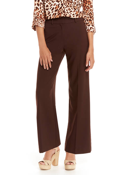 Petite Pleated Solid Wide Leg Pants