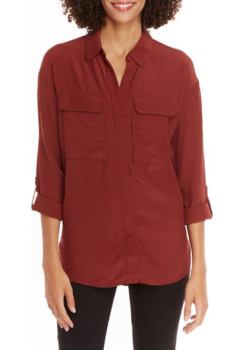 Petite Long Sleeve 2 Pocket Button Down Top