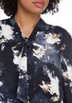 Petite Tie Neck Bishop Sleeve Print Top