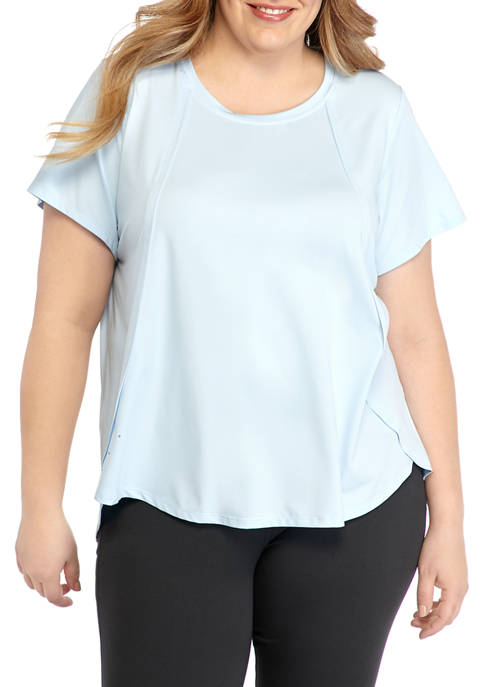 ZELOS Plus Size Short Sleeve Seaming T-Shirt