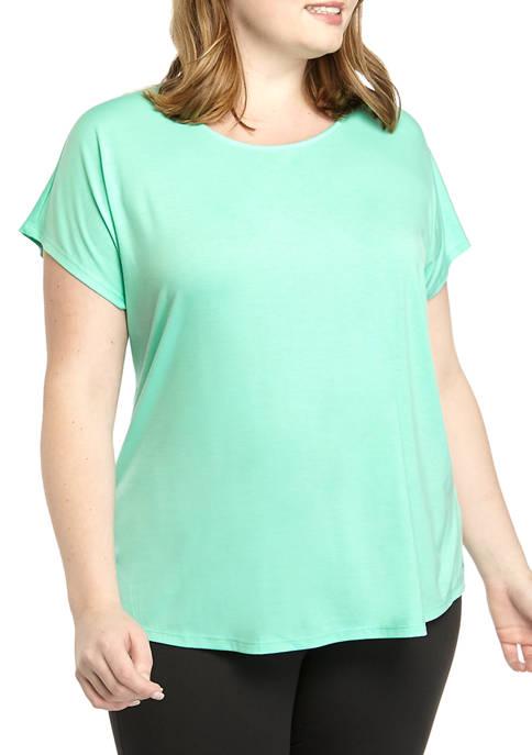 Plus Size Cross Front Short Dolman Sleeves T-Shirt