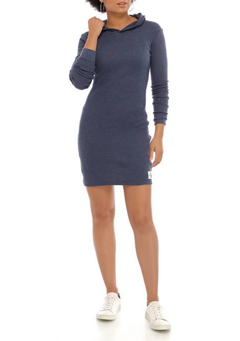 Calvin Klein Jeans Womens Hooded Waffle Knit Dress