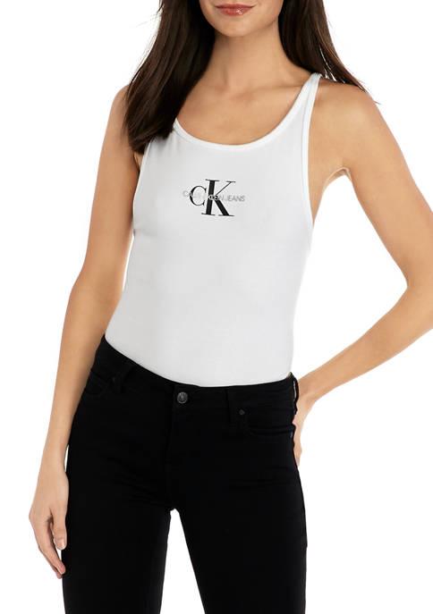 Calvin Klein Jeans Womens Monogram Logo Scoop Back