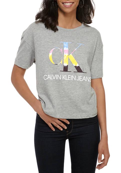 Womens Short Sleeve Tie Dye Logo Graphic Boyfriend T-Shirt
