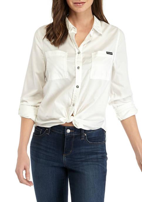 Calvin Klein Jeans Womens Garment Dye Classic Button
