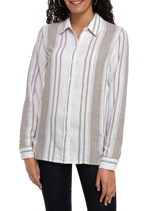 Calvin Klein Jeans Womens Yarn Dye Striped Button