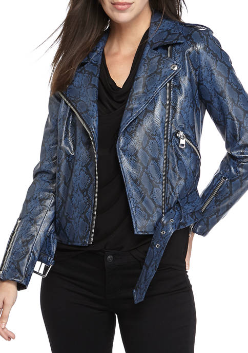 Womens Faux Leather Belted Moto Jacket