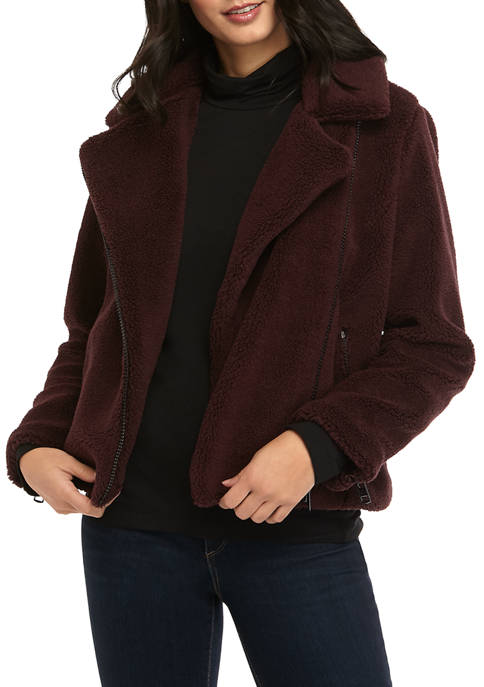 Calvin Klein Jeans Womens Sherpa Moto Jacket