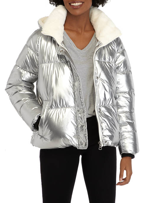 Womens Puffer Jacket with Sherpa and Detachable Hood