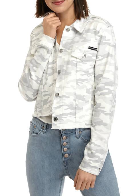 Calvin Klein Jeans Womens Raw Edge Camouflage Trucker