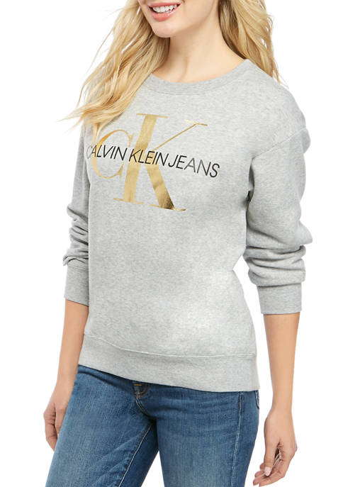 Calvin Klein Jeans Womens Crew Neck Fleece Printed