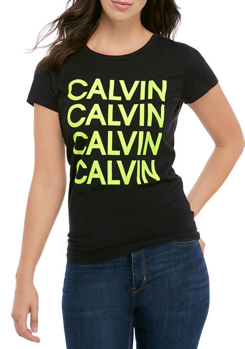 Calvin Klein Jeans Womens Flock Stacked Logo Iconic
