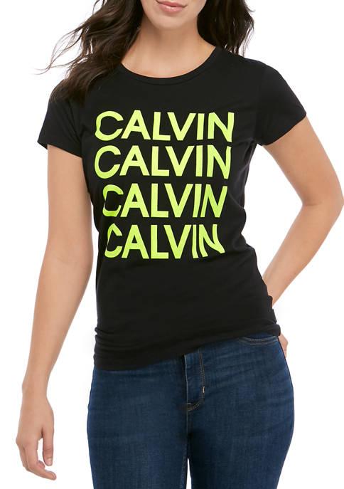 Womens Flock Stacked Logo Iconic Short Sleeve Graphic T-Shirt