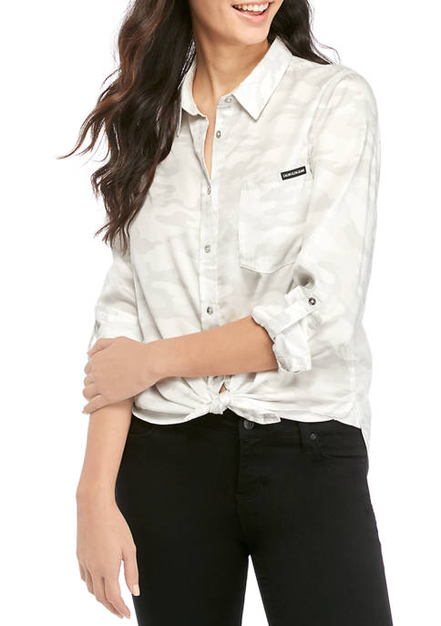 Calvin Klein Jeans Womens Tie Front Button Down