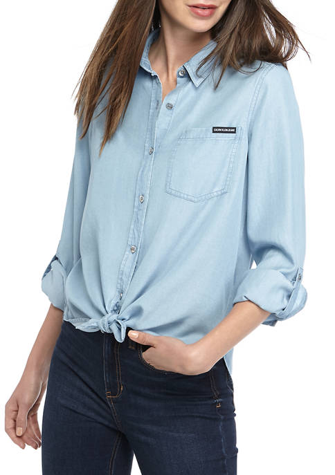 Womens Tie Front Button Down Top with Roll Tab Sleeves