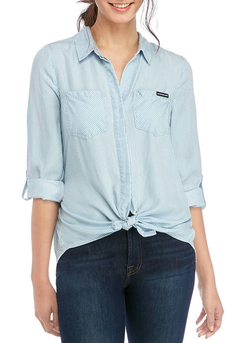 Calvin Klein Jeans Womens Split Hem Button Down