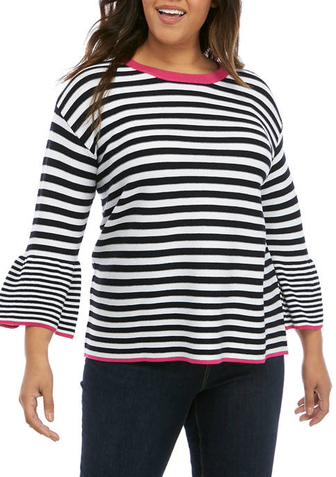 Kim Rogers® Plus Size 3/4 Bell Sleeve Sweater