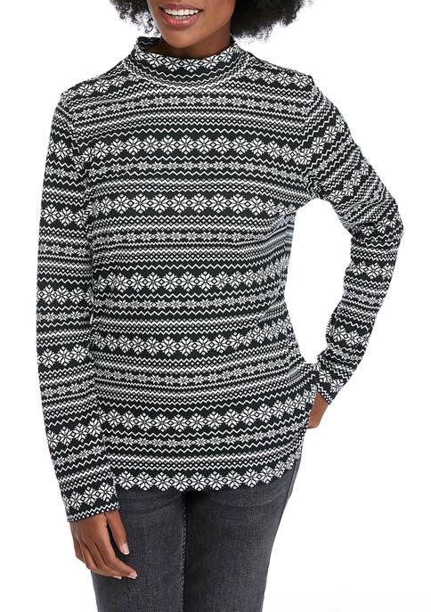 Petite Perfectly Soft Long Sleeve Mock Neck T-Shirt