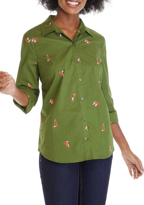 Petite Button Up Roll Tab Sleeve Print Top