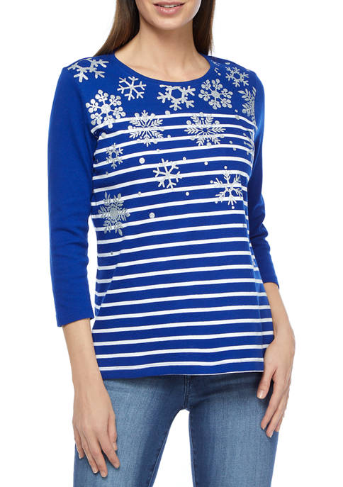 Kim Rogers® Petite Perfectly Soft 3/4 Sleeve Crew