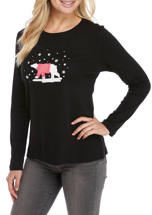 Kim Rogers® Petite Perfectly Soft Long Sleeve Crew