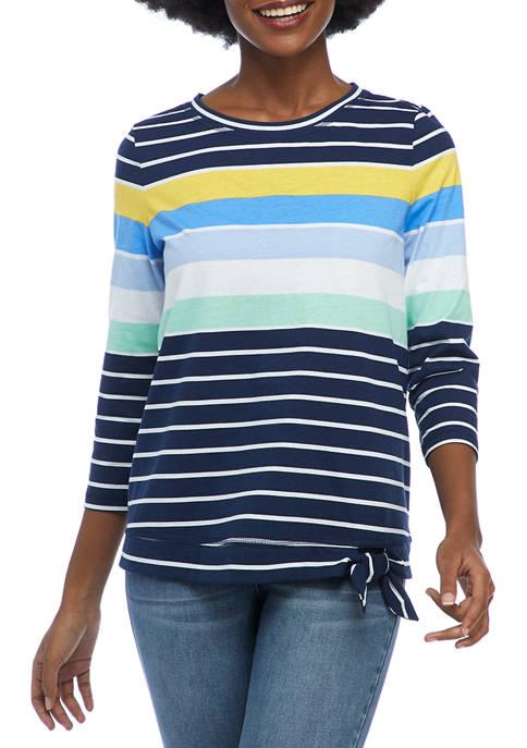 Kim Rogers® Petite 3/4 Sleeve Side Tie Stripe