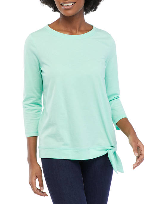 Kim Rogers® Petite 3/4 Sleeve Side Tie Top