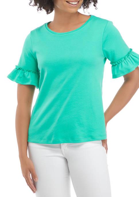 Kim Rogers® Petite Bell Sleeve Yarn Dyed Top