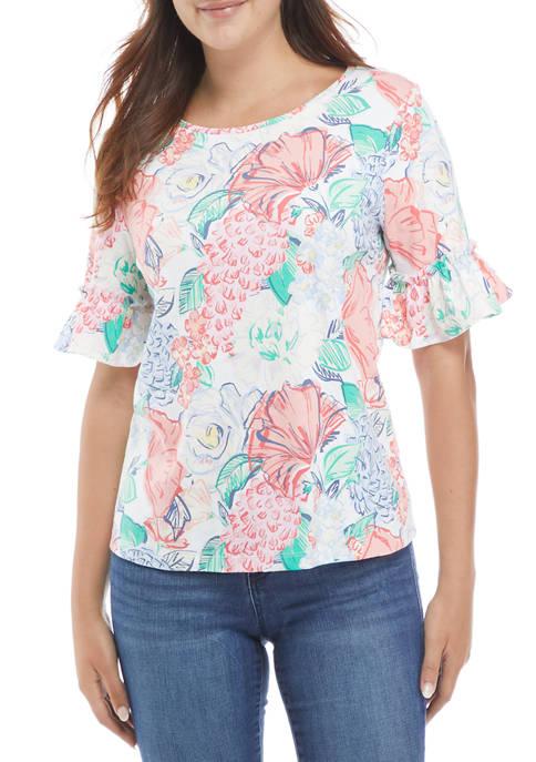 Kim Rogers® Petite Bell Sleeve Floral Print Top