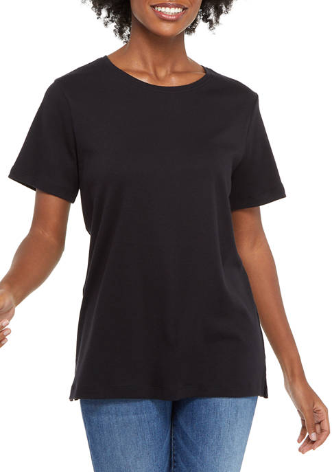 Kim Rogers® Petite Short Sleeve Cotton T-Shirt