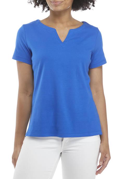 Kim Rogers® Petite Short Sleeve Split Neck Top