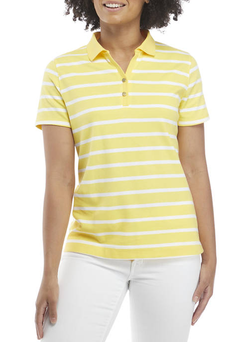 Kim Rogers® Petite Short Sleeve Striped Polo Shirt