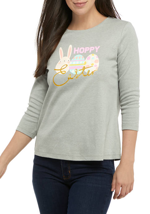 Kim Rogers® Petite 3/4 Sleeve Graphic T-Shirt