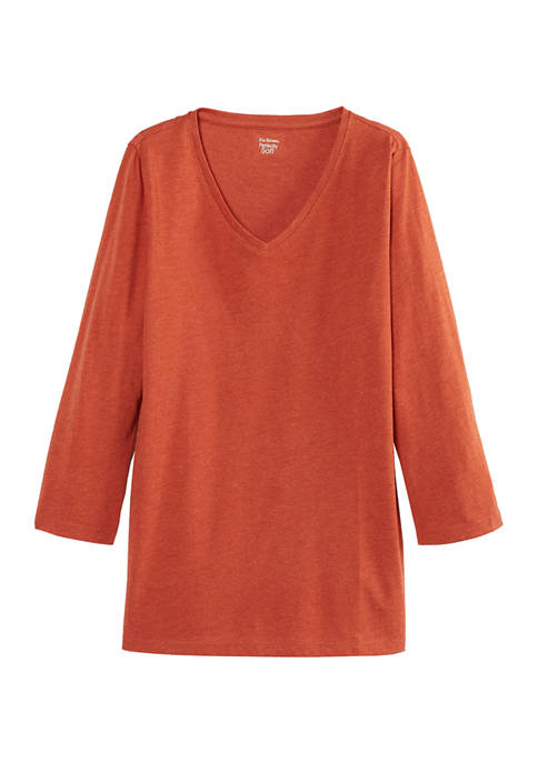 Kim Rogers® Womens 3/4 Sleeve V-Neck T-Shirt