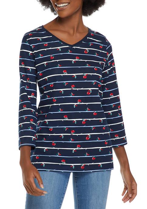 Kim Rogers® Womens 3/4 Sleeve Printed V-Neck T-Shirt
