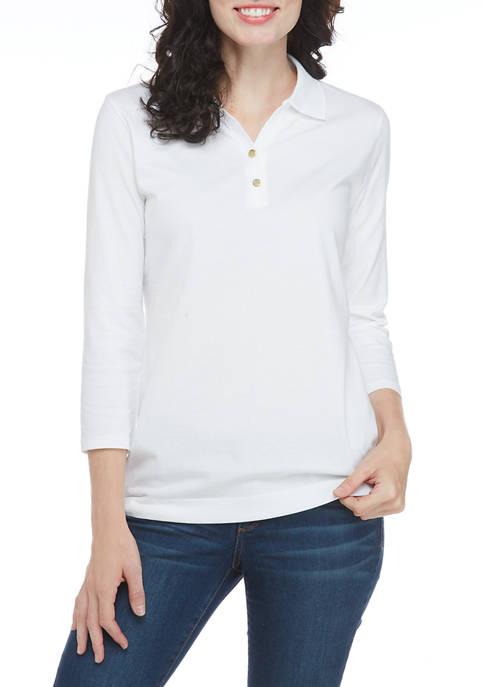 Kim Rogers® Womens 3/4 Sleeve Polo Shirt