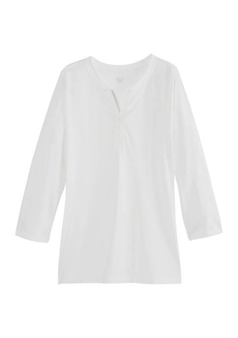Kim Rogers® Womens 3/4 Sleeve Henley Shirt