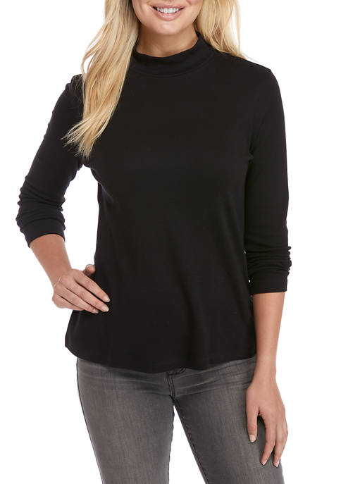 Kim Rogers® Womens Long Sleeve Mock Neck Top