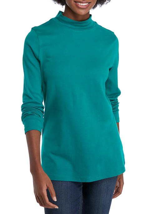 Womens Long Sleeve Mock Neck Top